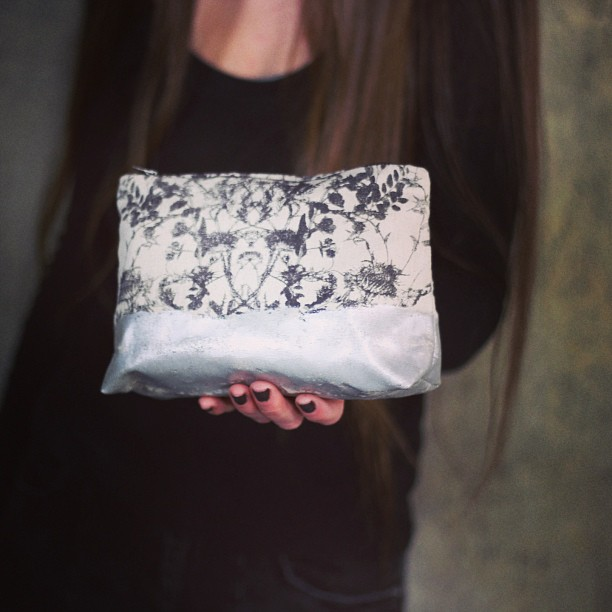 #wildflowers #bag with #silver #foil #handprinted #planetariumdesign