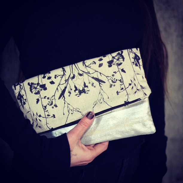 #folding #clutch #bag with #wildflowers #print & #silver #foil