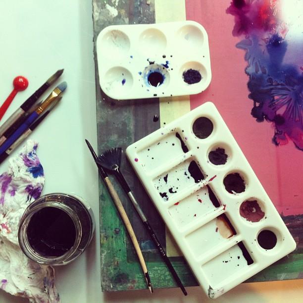 #painting the #monoprint #heart #silkscreen