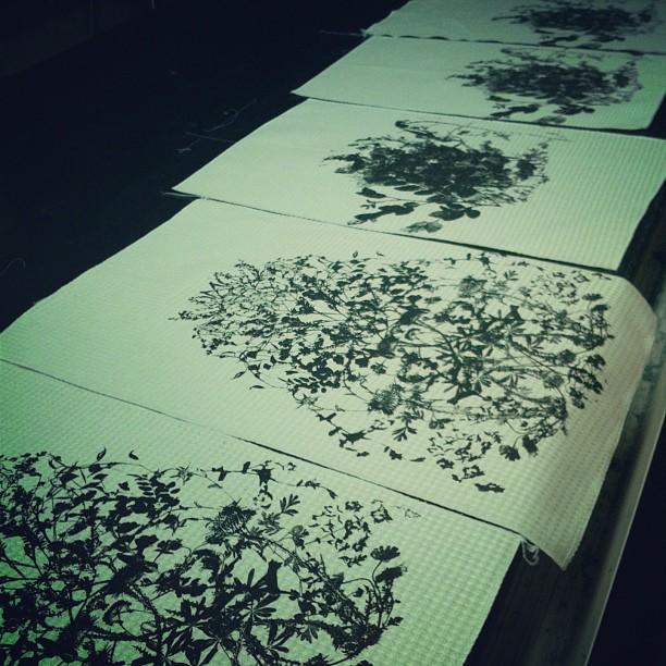 #Tea #towels #screenprint #wildflowers #printing