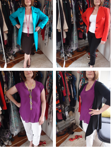 Carol already had the white pants, black card and blue coat - we added a new purple top and Carol accessorised with great shoes and fab necklaces - the splicing effect of cardigans, jackets, coats and long necklaces elongate Carol's petite frame. Looking so good in beautiful colours.