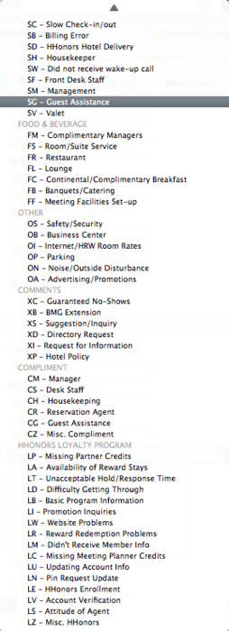 Trying to submit a form to contact a hotel chain about an issue I have with their loyalty program. You have to select from all of these options and this isn't even the entire list. And best of all, my issue isn't on there anywhere but I had to read every option to know that. Plus, that's a lot of things they're expecting to hear about. Maybe I don't want to stay there again.