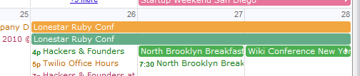The green is the original event on a shared calendar, the orange is the instance on my calendar, unmodified. There is no reason for it to be displayed twice. This is a simplified example, imagine how cluttered it is when there's a lot of events on the same day set up like this. I'm convinced the Google Calendar team doesn't use their own product with more than a few calendars.
