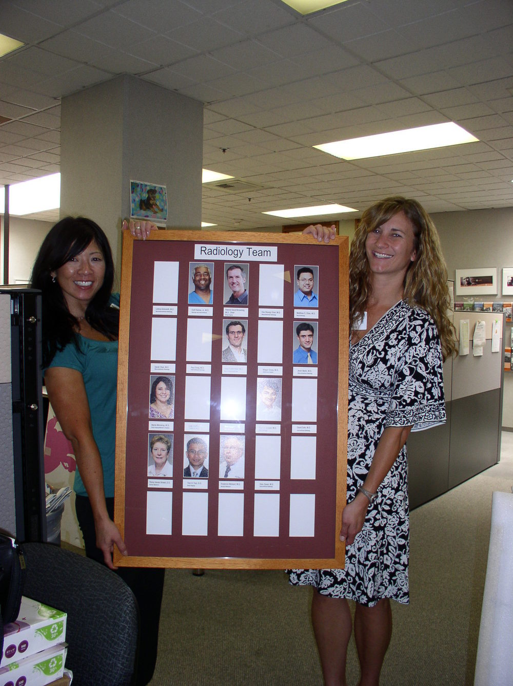 Sutter Cancer Center Marketing Team with Radiology Staff Framed Photos