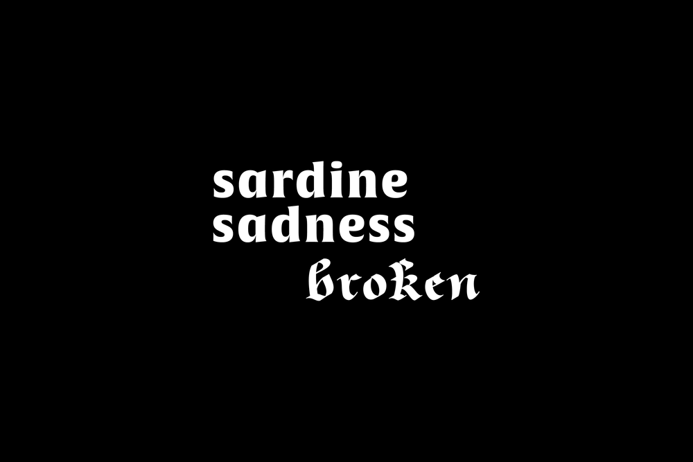 Sardine Sadness Broken was the creation of a short run of tees that stemmed from general realisations and your everyday sadness. This was the last run created for Sardine Sadness. 2014.