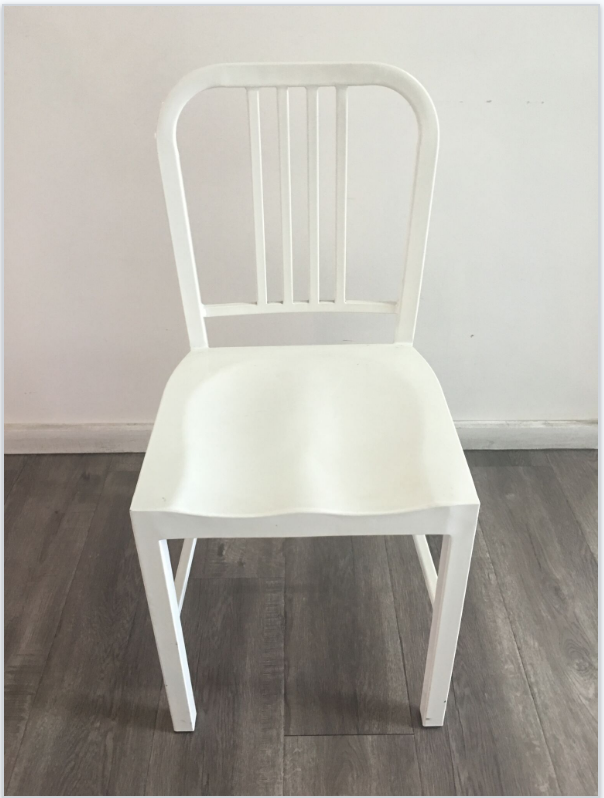 Vintage Inspired Steel Chairs White Quantity: 5