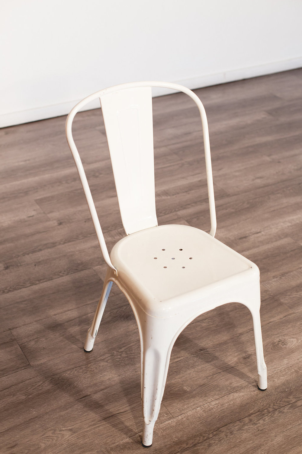 White Galvanized Steel Bistro Chair Quantity: 2