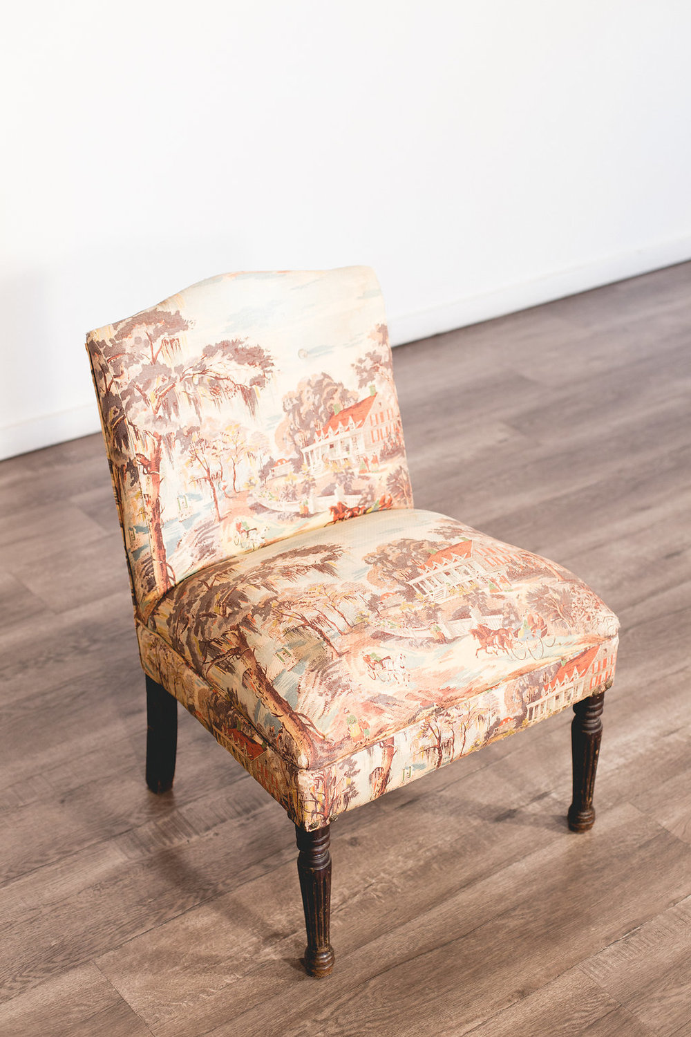 Vintage Toile Upholstered Chair Quantity: 1 Price: $75