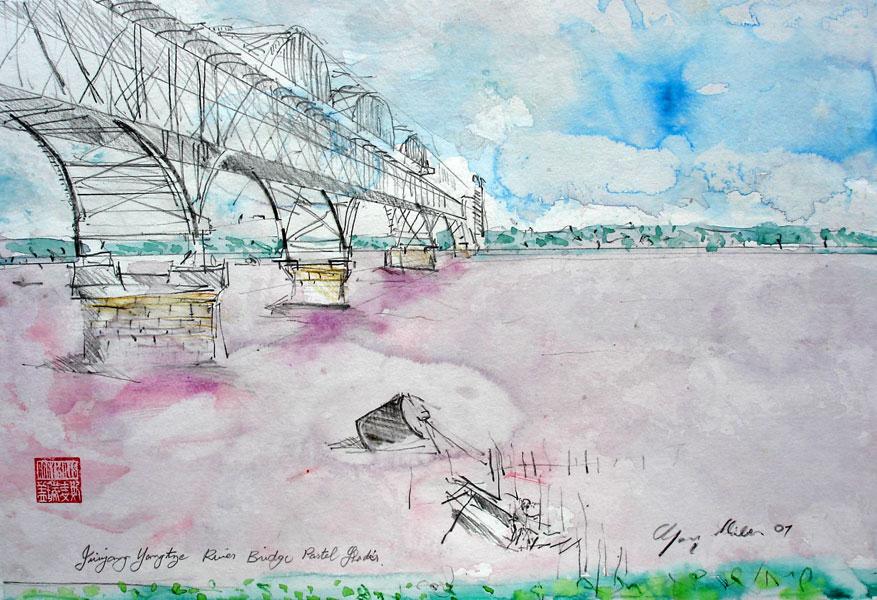 Juijang Yangtze River Bridge Pastel Shades