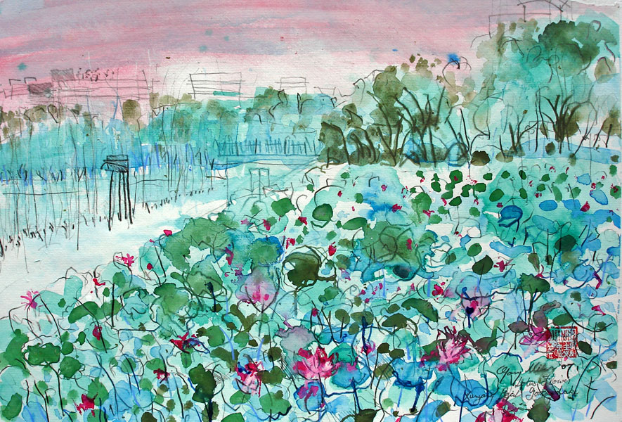Lotus Flower and Pearl Lake