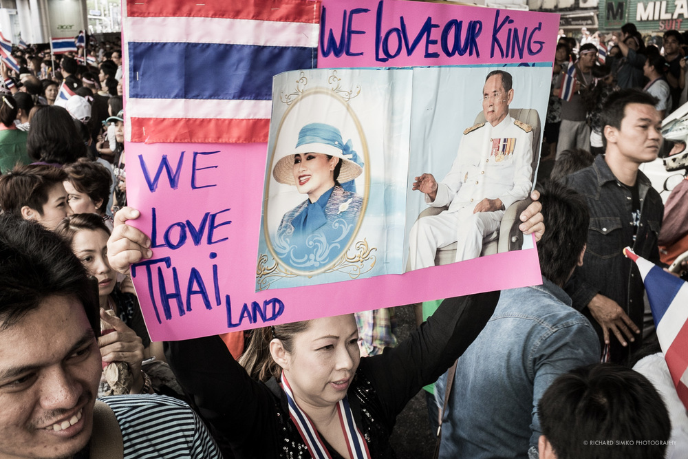All people of Thailand are united in their love for their monarch, king Bhumibol Adulyadej.