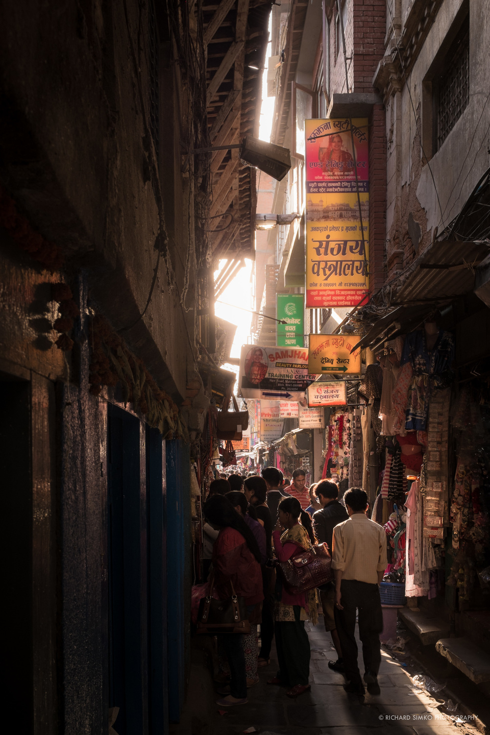 Narrow streets of Thamel can be crowded but colourful in setting sun