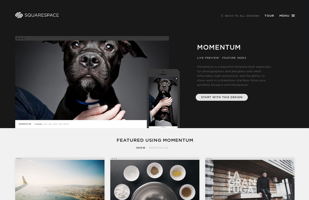 Template preview as desktop or mobile version. Also some user examples for inspiration.
