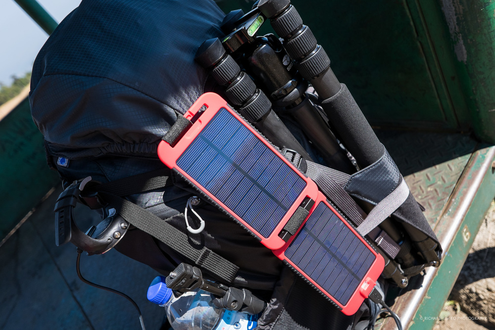 Powermoinkey solar panel is rigged to my backpack and currently charging Suuntoo Ambit2 GPS watch.