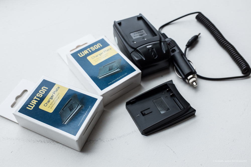 Watson charger kit with additional plates to suit any camera battery ever made by human kind.