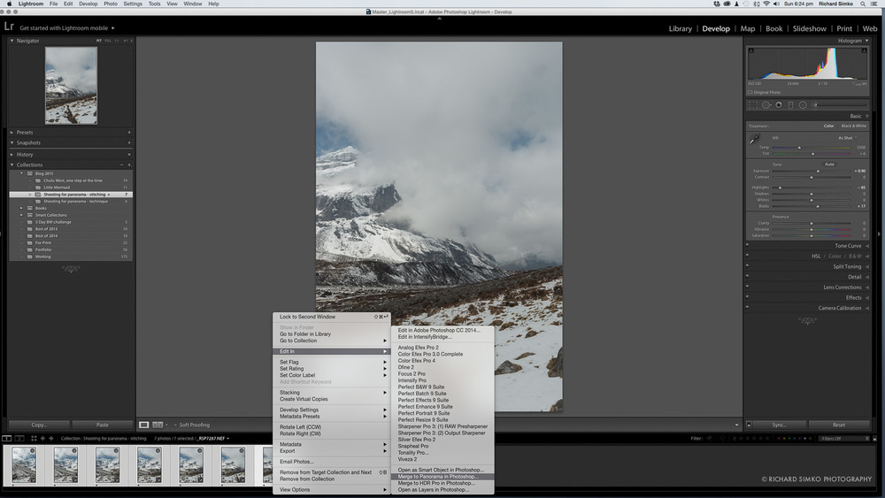 6. Sending the sequence over to Photoshop via Merge to panorama menu item.