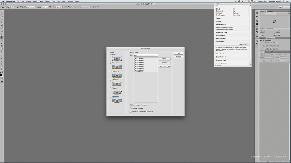 7. Selecting the stitching method in Photoshop. Just use Auto. It usually does pretty good job.