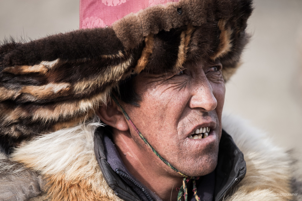 Portrait of an Kazakh eagle hunter