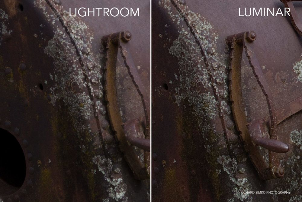 Detail comparison between Lightroom and Luminar file at 1:1
