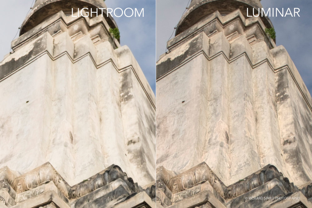 Detail of Fujifilm Xtrans RAW conversion difference between Lightroom vs Luminar.
