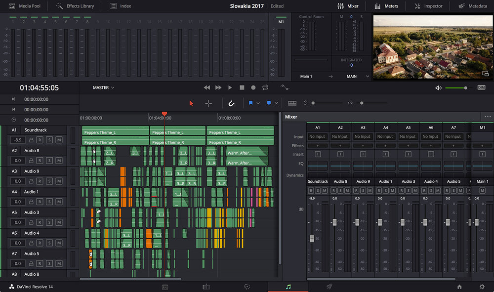 This is the Fairlight page in Davinci Resolve. I rebuilt 80% of the sound in the post from different sound clips.