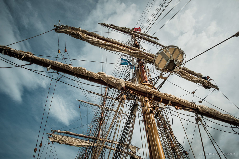 Masts and rigging of Europa. So excited about the prospect of climbing up there,