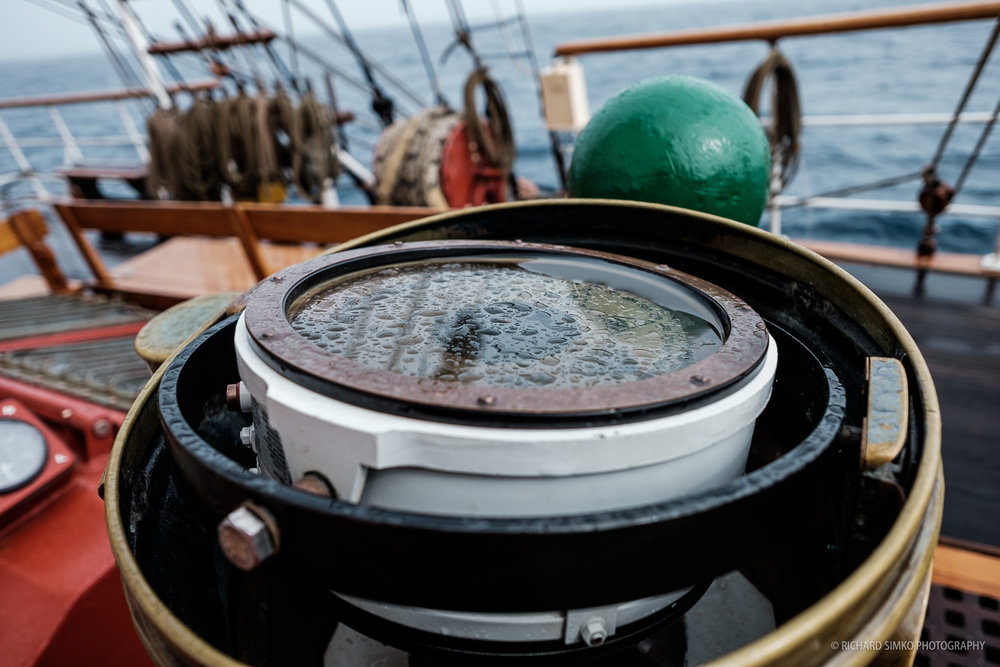 The old traditional compass on Europa, located just in front of steering wheel. We also had an electronic compass which we used most of the time.