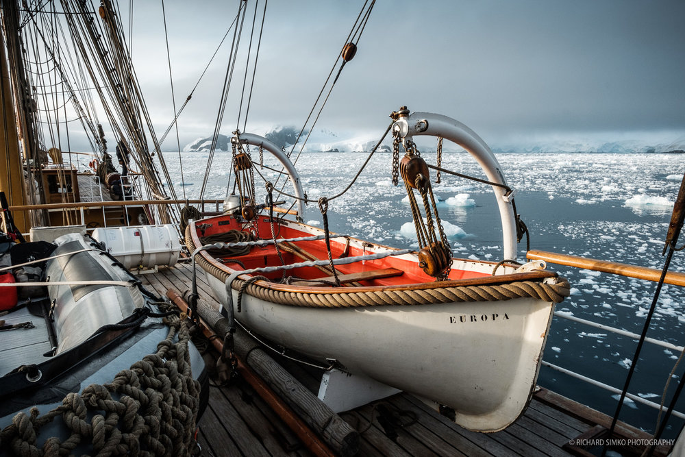 """Sloopy of Europa. We used it for some cruises alongside the two zodiacs, """"Blacky"""" and """"Grey"""""""