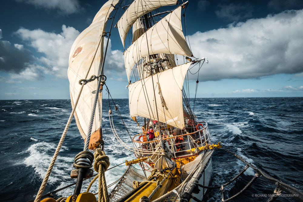 Bark Europa sailing on a fairly friendly seas of Drake Passage