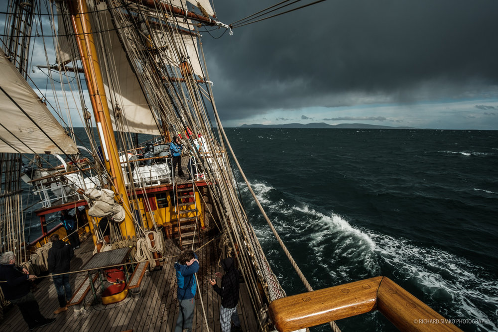 Slowly leaving the Beagle Channel behind and entering the Drake Passage. Skies are getting darker.