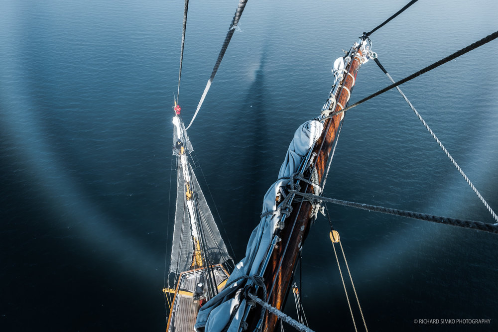 A fog bow, taken from top of the Europa's foremast.