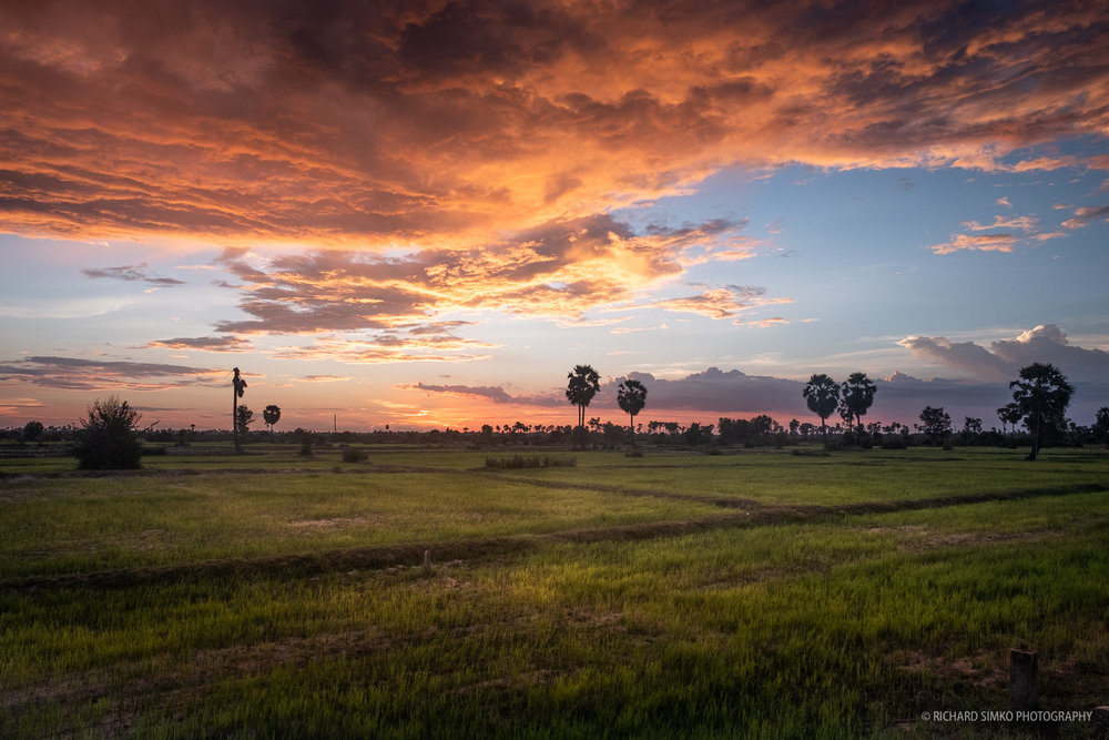 Sunset at Cambodian countryside.