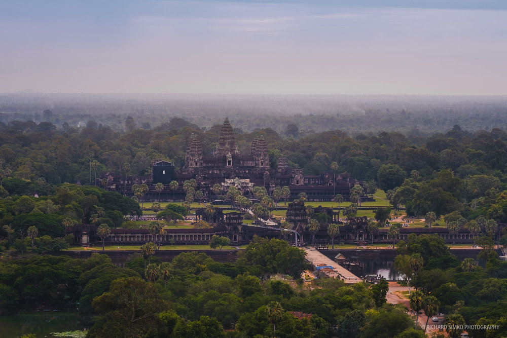 Less than ideal lighting conditions during sunrise above Angkor Wat