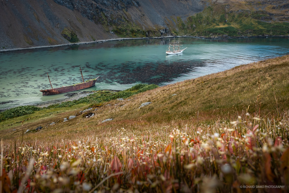 Europa anchoring in Ocean Harvour with the shipwreck of Bayard creating this nice colourful view.