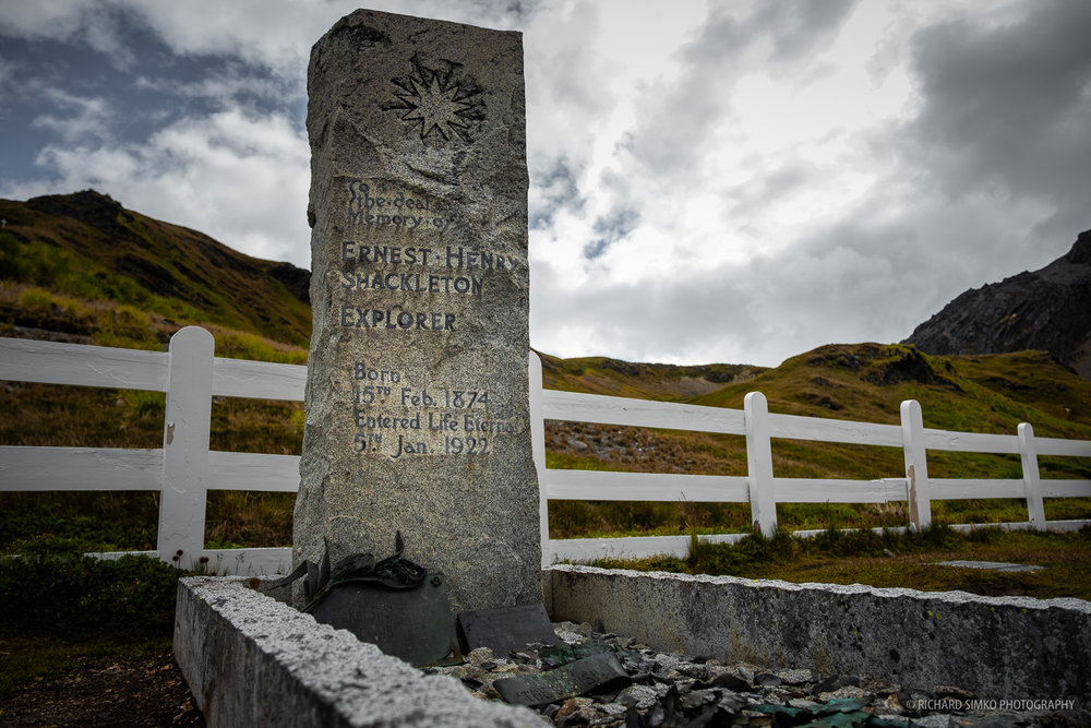 The grave of Ernest Shackleton who passed way in South Georgia. He was one of the best known polar explores of all time.