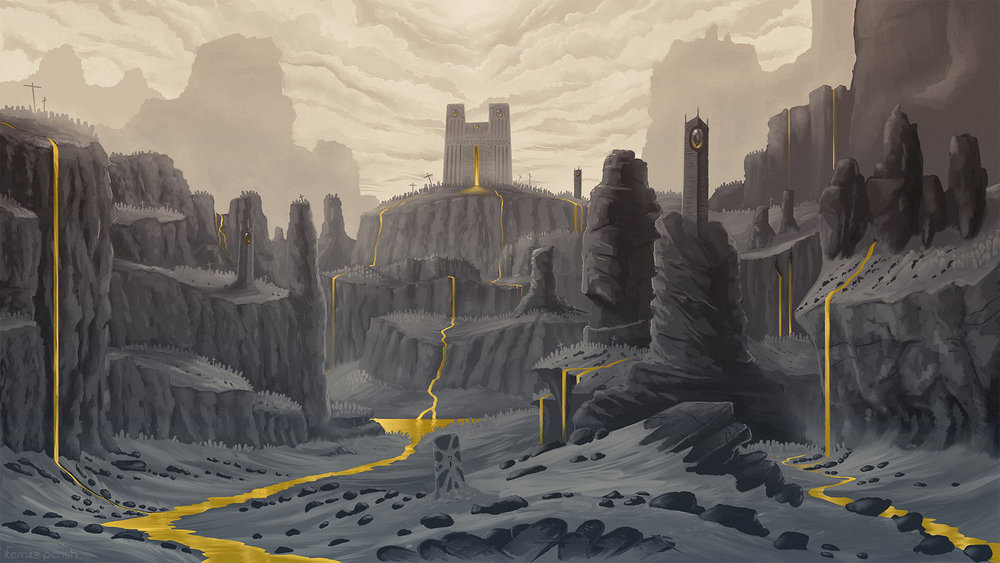 Concept artwork for Purgatory, the main battle arena in PERISH where players earn gold by delivering tormented creatures to their total oblivion.