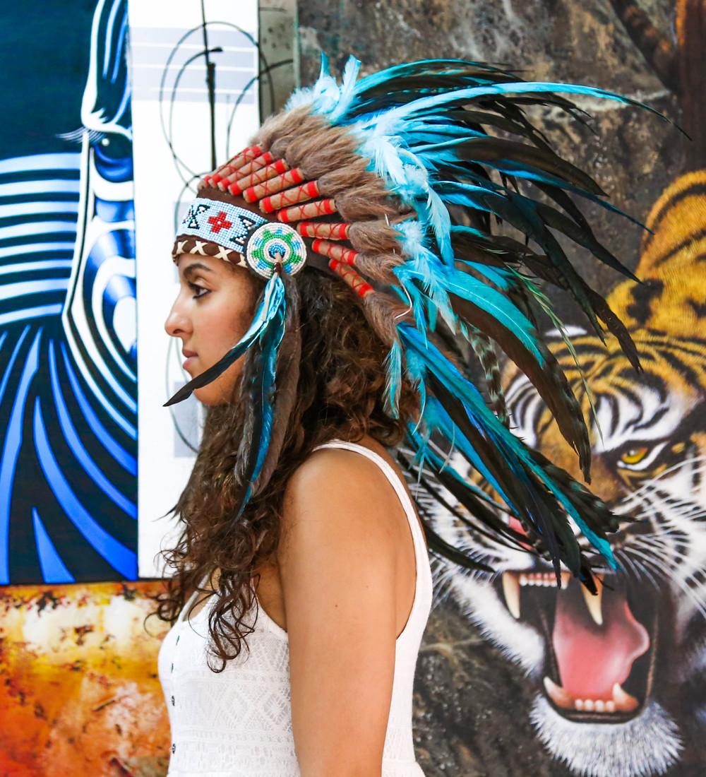 & Small Light Blue Indian Inspired Headdress u2014 AUREUS ARTS