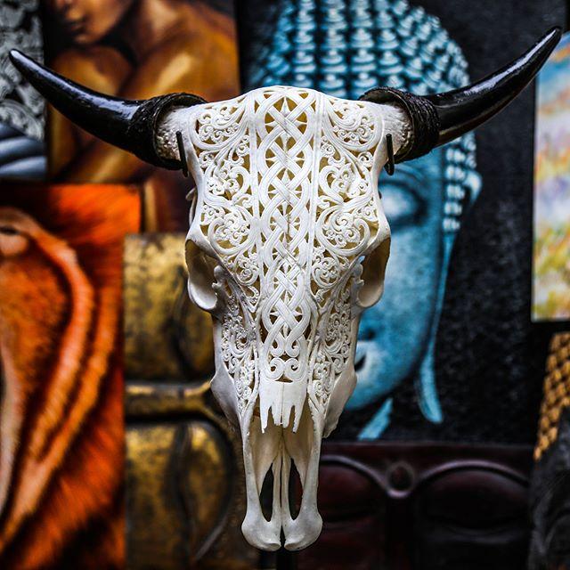Stunning Celtic Tribal Hand Carved Cow Skull🍀  #aureusarts #skull #handcarved #art #artdeco #interiordesign #shoplinkinprofile!
