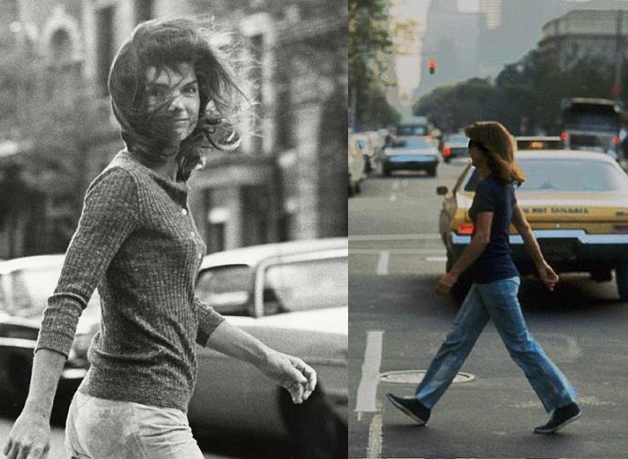 StyleBomb Jackie O Walking Across Street