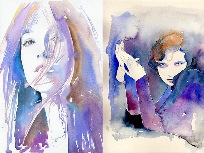 WATERCOLOR PORTRAITS OF FASHION ART FROM CATE PARR