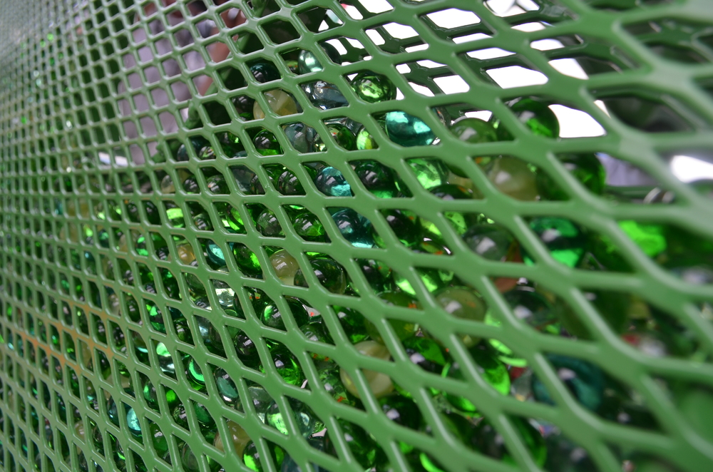 About 23,000 marbles are part of a new bus stop shelter in Greensboro. photo credit : Kathryn Mobley / WFDD
