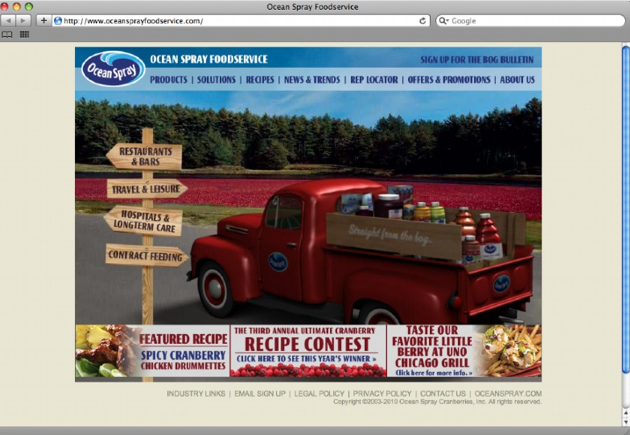Ocean Spray's foodservice B2B site was dated and didn't match the brand. We recreated it using the iconic Ocean Spray pickup truck, Earl, as our silent spokesperson.