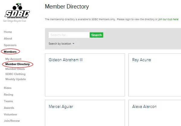 Member Directory - To view the Member Directory, click Members -> Member Directory.  You can search for members by typing their name in the