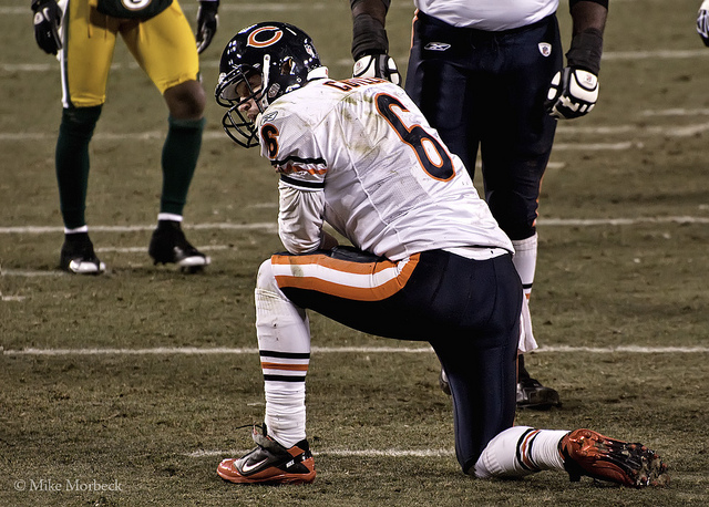Jay Cutler needs a big season to live up to this season's hype and to secure a new contract.  © Mike Morbick used under a CC BY-SA 2.0 license at  http://www.flickr.com/photos/33494452@N05/5483929352/in/photolist-9mAz95