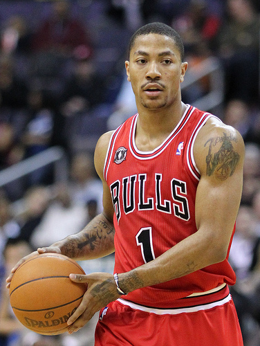 Derrick Rose will have to lead the Bulls' offense to new heights in his return from major knee surgery. Rose averaged 21.8 points per game in 2012. ©Keith Allison used under CC BY-SA 2.0