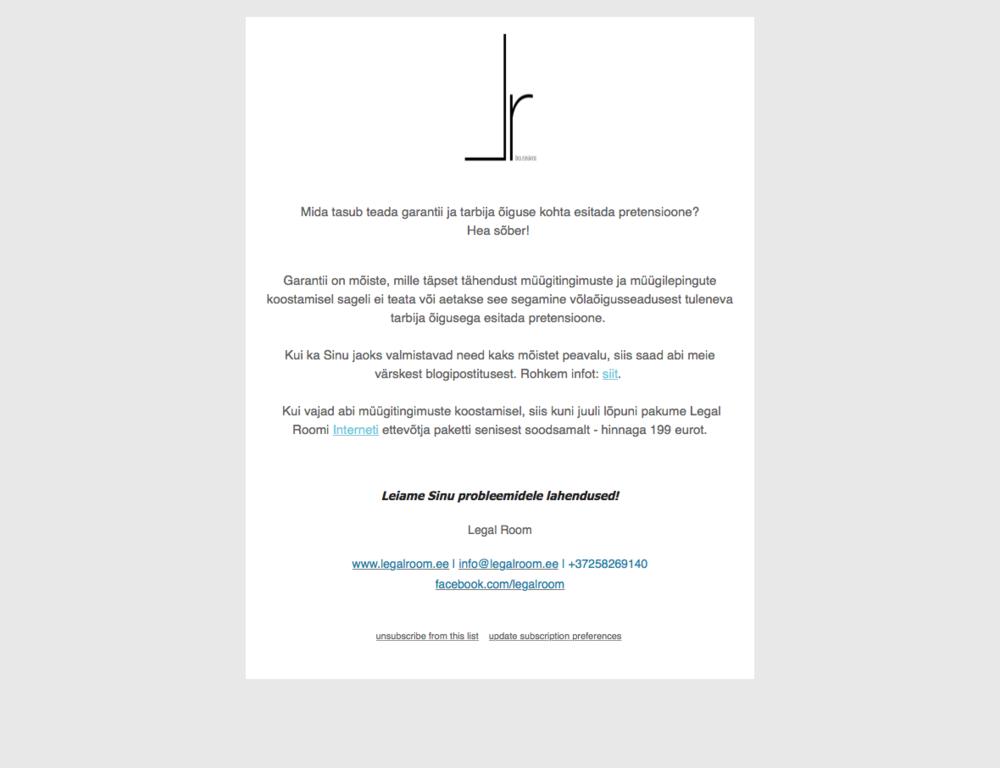 Newsletter design for Legal Room