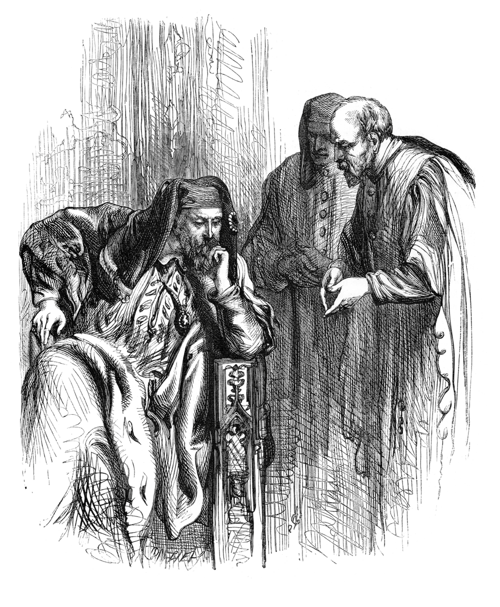 Henry V listening to his advisors.