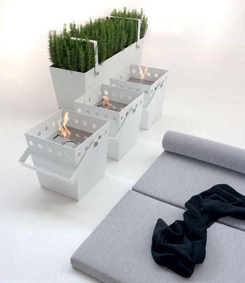 Earth and Fire    If a new home spa is a bit out of your budget, check out this fabulous line of eco fuel fire buckets and plant pots. You can even move your indoor fire and garden with you around the house if you wish.
