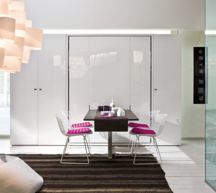 The Ulisse Dining module provides chic dining space for 4 by day.