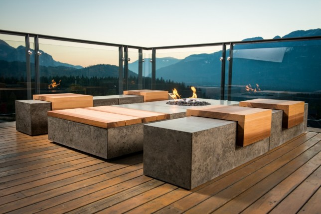 Sticks and Stones is an artisan company based in Squamish BC. They design and create furniture and millwork from concrete and wood using salvaged materials. Their designs are sleek, contemporary and practical. This grouping is from the Social Series....takes sitting on a log by the fire to a whole new level!